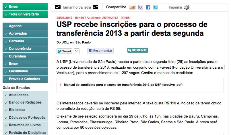 usp recebe inscri es para o processo de transfer ncia 2013 a partir rh consultoriadecarreira com Aprovados Fuvest 2014 Fuvest 2015